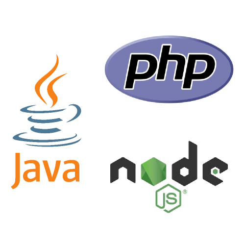 image with the logos of Java, PHP and Node.js