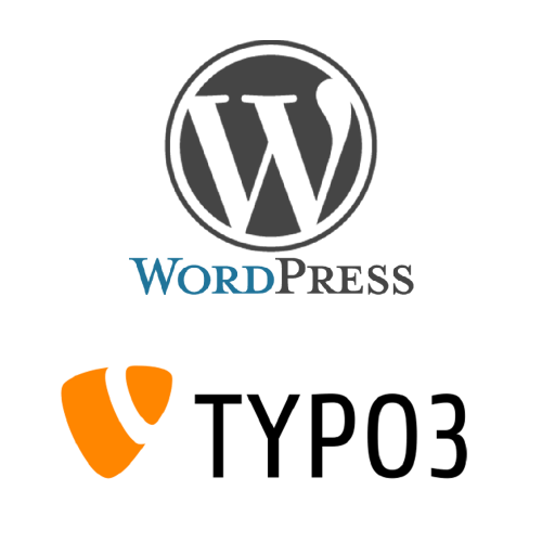 image with the logos of WordPress and Typo3