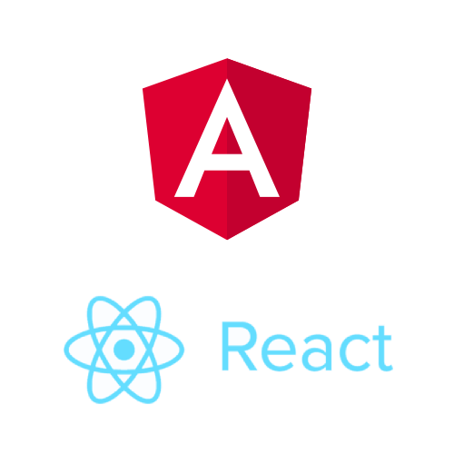 image with the logos of Angular and React