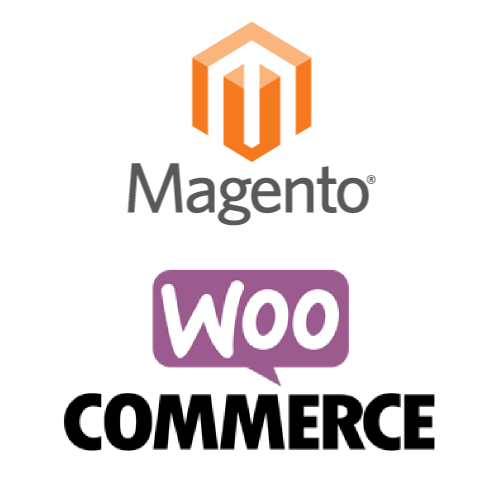 image with the logos of Magento and WooCommerce